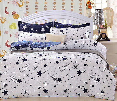 White And Navy Star Duvet Cover with Pillow Case Quilt Cover Bedding Set