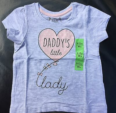 Baby Girl Grey T Shirt with ' Daddy's Little Lady ' detail