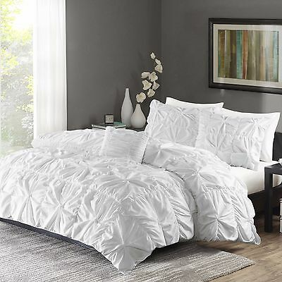 Ruched Bedding Set King Size Bed White Duvet Cover & Shams 4 Piece Twist