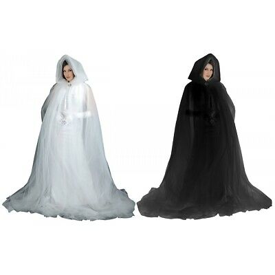 Ghost Costume Cape Adult Hooded Cloak Gothic Scary Halloween Fancy Dress