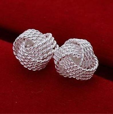 """Nice New Silver Plated Rope Texture 1/2"""" Diameter Love Knot Post / Stud Earrings"""