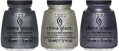 3 Colors China Glaze GOSSIP OVER GIMLETS - PUBLIC RELATIONS - KISS MY GLASS