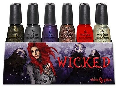 18 China Glaze Nail Polish WICKED Collection 6 Colors SET (1133-1138) DISPLAY