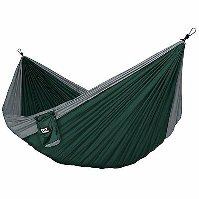 Neolite parachute nylon double hammock for camping backpacking - grey/dark green
