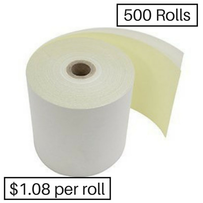 500 76x76mm Impact 2ply Receipt Rolls ($1.05 per roll)
