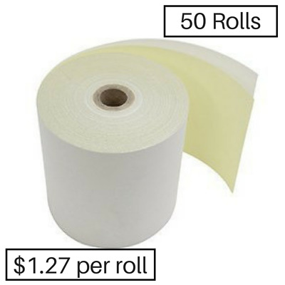 50 76x76mm Impact 2ply Receipt Rolls ($1.18 per roll)