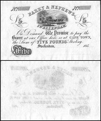 South Africa 5 Pounds, 1800s, Barry & Nephews of Swellendam Banknote