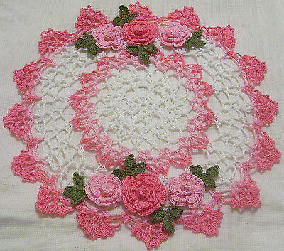 french and orchid pink roses crocheted doily  by Aeshagirl