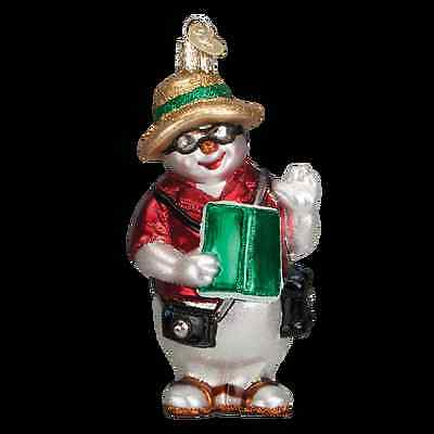 New Old World Christmas South Pole Vacation Snowman Glass Ornament 24148