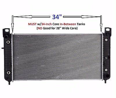 "Radiator for 2006 GMC Sierra 2500 HD 6.0L-34/"" BETWEEN TANKS-W//ENGINE OIL COOLER"