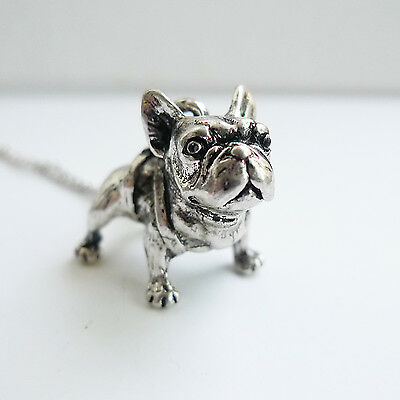 French Bulldog Charm Pendant Dog Necklace RETRO Burnished Antique Silver pet dog