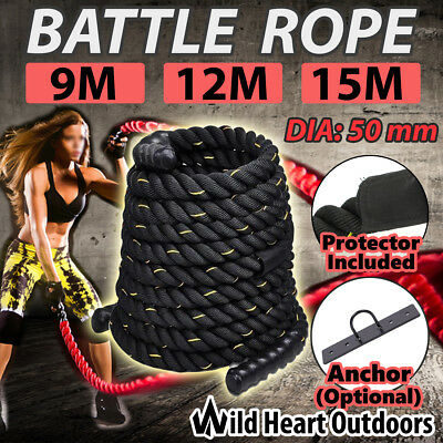 Battle Rope 50mm Battling Strength Training Home Gym Exercise Fitness Anchor 9M/