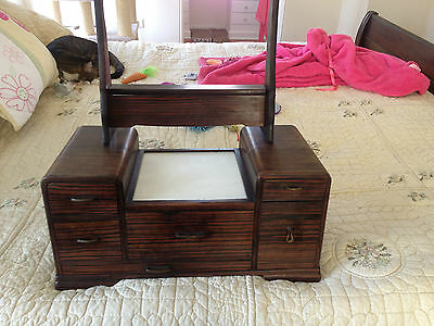 Beautiful Large Vintage Kyodai Makeup Vanity Box ,Art Deco,Antiques,Geisha,Japan