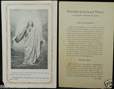 Old Blessed Sacred Heart Of Jesus Holy Card Andachtsbild Santini Estampa   Cc889