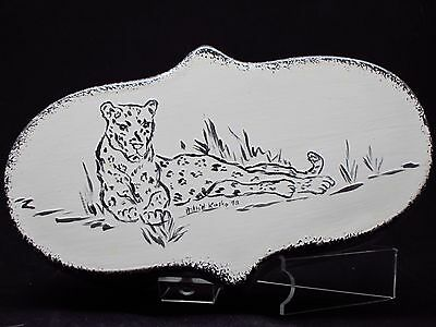 Unique Leopard Painted Ceramic Trinket Box Artist Signed