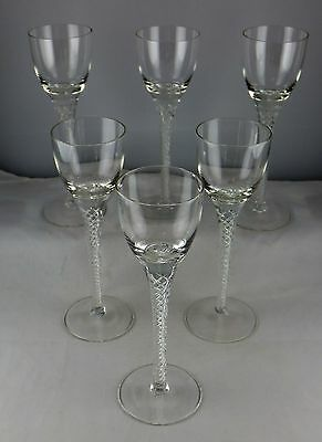 Set Of Six Air Twist Contemporary Tall Cordial Glasses