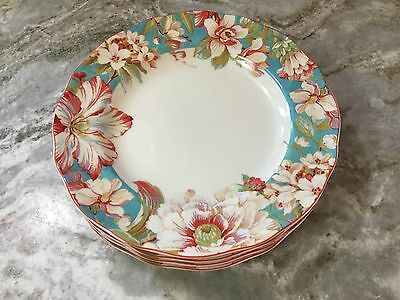 222 Fifth Dinner Plates. Marley Teal. Set Of 4. Beautiful Floral Design. New.