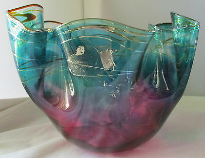 Scott & Laura Curry Hand Blown Large Signed Art Glass Bowl - 1990