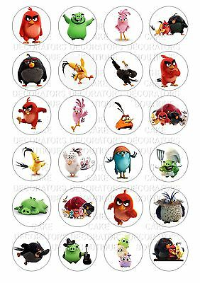 24 Angry Birds Wafer / Rice Paper Cupcake Topper Edible Fairy Cake Bun Toppers