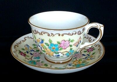 Crown Staffordshire Vintage Fine Bone China Tea Cup Saucer Birds Flowers 15663.