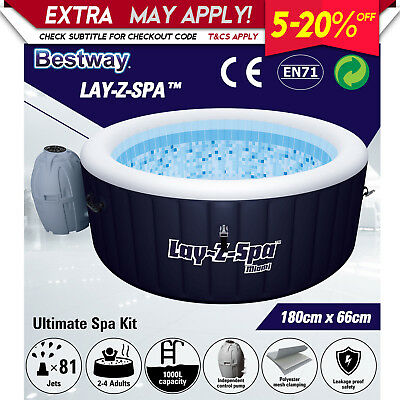 New Bestway Inflatable Outdoor Portable Lay-Z Spa Hydrojet Massage Bath Pool