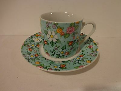 Mary Engelbreit Cup and Saucer Green Floral 2002
