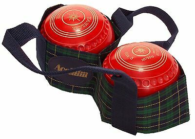 ACCLAIM Arran Two Bowl Carrier Green Navy Yellow Tartan With Handles