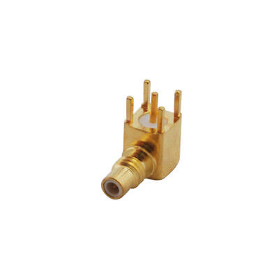 SMC jack male RF connector PCB mount right angle goldplated
