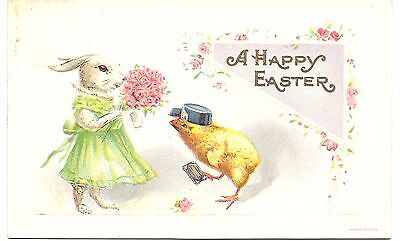 Holiday Vintage Postcard - A Happy Easter