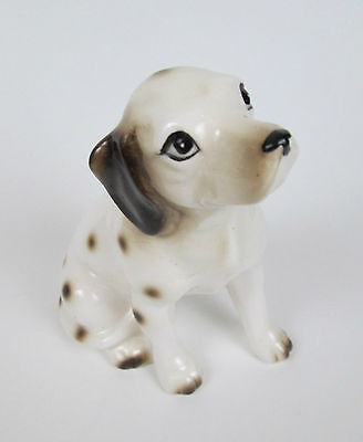 "Vintage Cermaic Spotted Sitting Dog Figurine Made In Japan 4 1/2"" tall"
