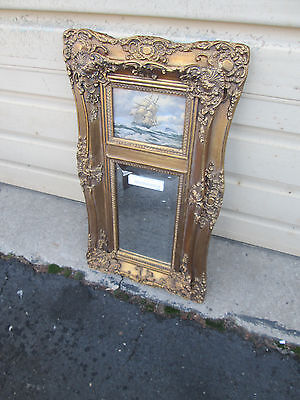 55469 Ship Oil on Board with beveled Mirror