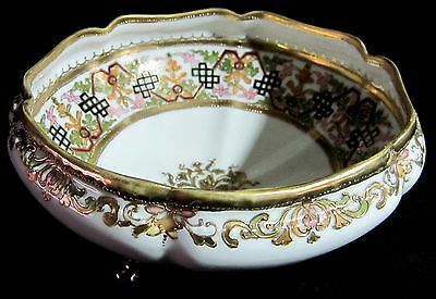 Antique Nippon RC Royal Crockery Large Ornate Footed Bowl Jeweled Beaded 1911-21