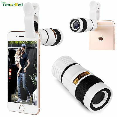 Universal 8X Zoom Telescope Clip-on Camera Lens for Mobile Cell Phone iPhone 6S