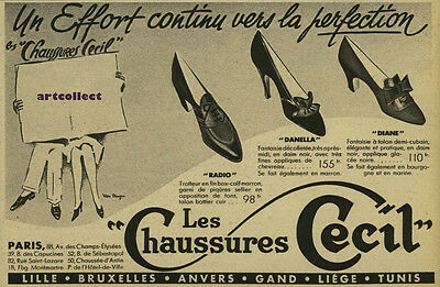 Original Vintage French Fashion Ad (1938): Les Chaussures Cecil. Shoes.