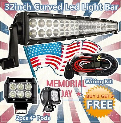 32 inch Curved Led Light Bar + 2X 4inch CREE Pods Work for Ford SUV Offroad Jeep