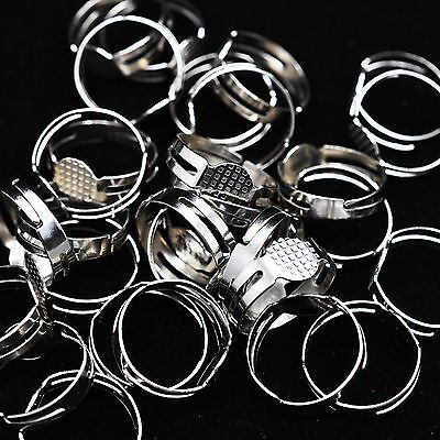 20 / 50 x Silver Adjustable Rings 8mm Blank Base Pad Jewellery Making Craft UK