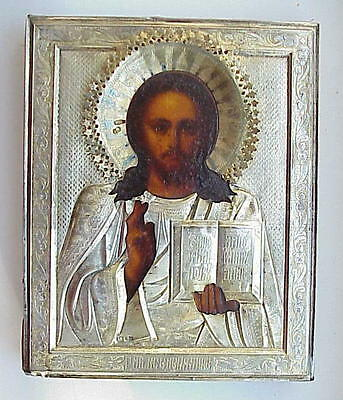 "19c. ORIGINAL RUSSIAN ROYAL IMPERIAL ORTHODOX ICON 84"" SILVER GOLD JESUS CHRIST"