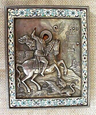 18c RUSSIAN ORTHODOX ICON MSTERA SILVER OKLAD EGG OIL GEORGE SLAYING THE DRAGON