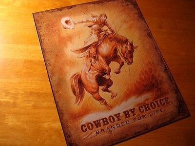 COWBOY BY CHOICE BRANDED FOR LIFE Bucking Bronco Rodeo Horse Sign Home Decor NEW
