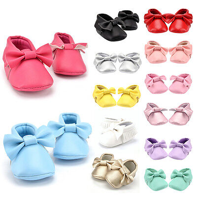 Toddler Infant Baby Boy Girl Bowknot Tassel Leather Shoes Moccasin Soft Sole New