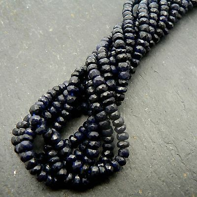 """Blue Sapphire Faceted Rondelle Beads 15"""" Strand Precious Gemstone"""