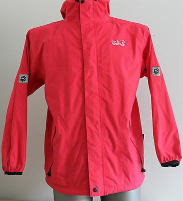 Womens JACK WOLFSKIN Texapore Jacket Waterproof Breathable Hooded Pink Size 152