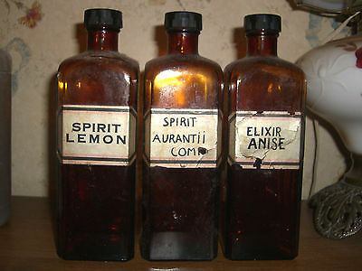 "Set Of 3 8 1/4"" Amber Apothecary Pharmacy Drugstore Medicine Bottles Wi Labels"