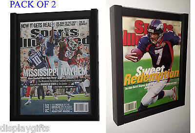 Pack Of 2 Magazine Sports Illustrated Display Frame Case Shadow Box Bh02-Q2