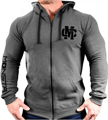 Monsta Clothing Zipper Hoodie for Gym, Workout, Bodybuilding - Gray / Black