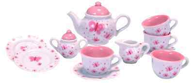 Schylling Butterfly Porcelain Tea Set Kids Girls Pretend & Play Toy New
