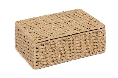 Small Natural Paper Rope Storage Baskets Boxes Hampers with Lids WB-9694S