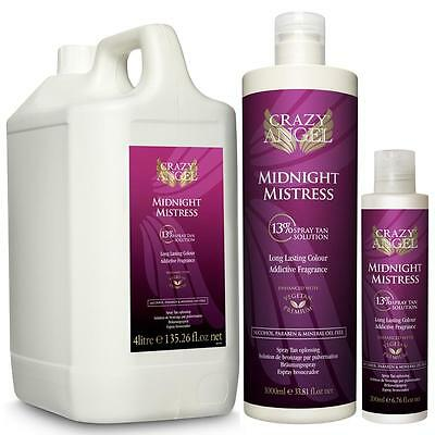 Crazy Angel 13% Midnight Mistress Spray Tan Solution Sizes 200ml,1Litre & 4Litre