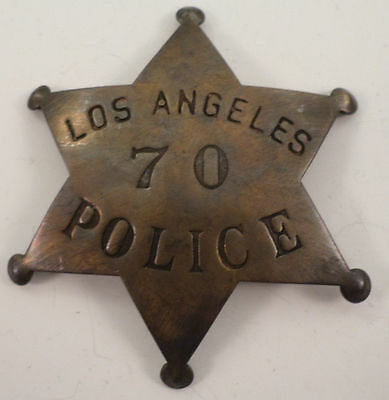 Embossed Los Angeles Police Solid Brass Badge Pin #166