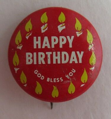Scripture Press Happy Birthday God Bless You Pin Pinback Button     (Inv2305)